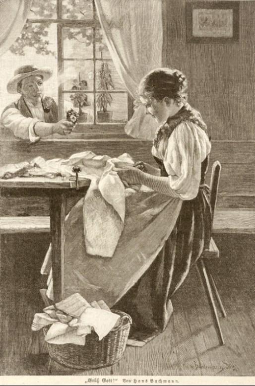 Näherin in der Stube am Tisch sitzend; Mann reicht ihr durch das geöffnete Fenster ein paar Blümchen