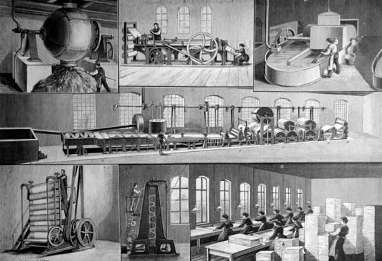 sw-Abbildung: Papierherstellung in Papierfabrik