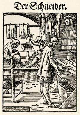 Holzschnitt: zwei Schneider beim Nähen und ein Schneider schneidet Stoff zu
