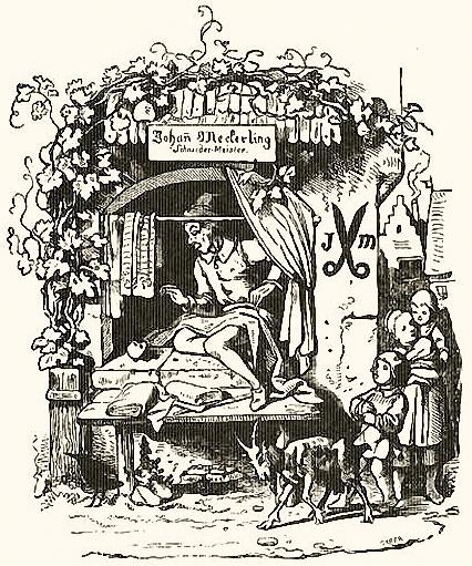 Zeichnung: Schneider sitzt am offenen Fenster und näht, Kinder schauen um die Ecke