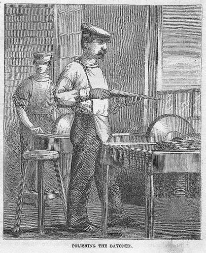 Kupferstich: zwei Büchsenschmiede beim Polieren - 19. Jahrhundert