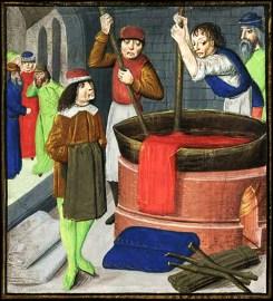 farbige Buchmalerei: zwei Färber rühren in beheizten Färberbottich herum, während andere vonehme Leute beobachtend herumstehen