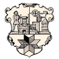 Zeichnung: dreigeteiltes geschwungenes Wappe; links oben ein Färber an Färbebecken, oben rechts mechanische Vorrichtungen, unten achteckiger Stern