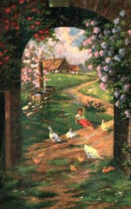 Stickbild: durch einen mit Blumen umrankten Steinbogen blickt man auf einen schmalen Sclängelweg, an dessen Rand sitzt der Gänsepeter im Gras und um ihn herum sind Gänse und Küken; links dahinter ein einfacher Brunnen mit Tränke und noch weiter hinten ein Gehöft