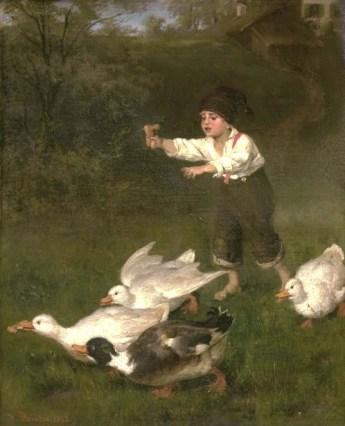 Gemälde: Junge rennt barfuß Gänsen nach, von denen eine ihm ein Stück Brot weggeschnappt hat