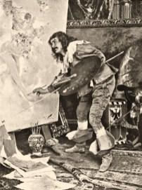 Gemälde: Maler bei der Arbeit im Atelier