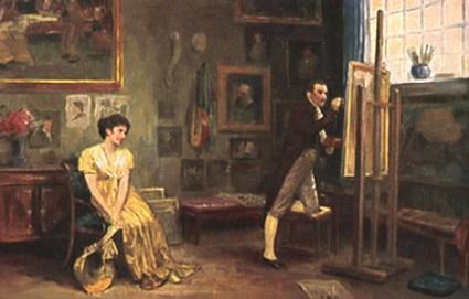 Gemälde: Maler bei der Arbeit an der Staffelei, weibliches Model mit Hut in der Hand sitzt auf einem Stuhl und wird von durchs Fenster scheinendes Sonnenlicht golden bestrahlt