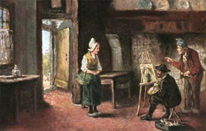Gemälde: Maler portraitiert holländische Frau mit Häubchen und Holzschuhen in deren Bauernstube