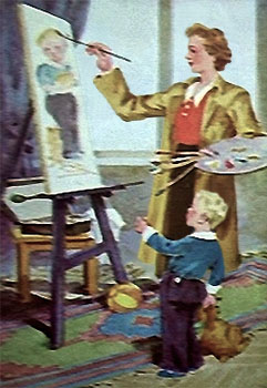 Aquarell: Malerin an der Staffelei malt Sohn, der staunend daneben steht