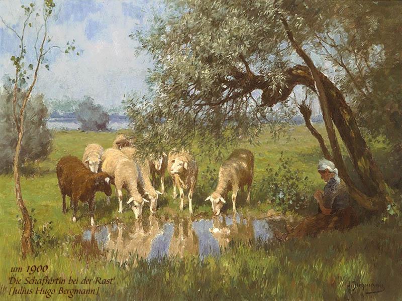 Gemälde: Schafhirtin sitzt rechts strickend unter einer Weide, mittig trinken Schafe aus einem kleinen Weier