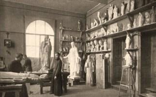 Steinbildhauer, Bildhauer, Bildhauerwerkstatt, Mönche, Kloster Beuron