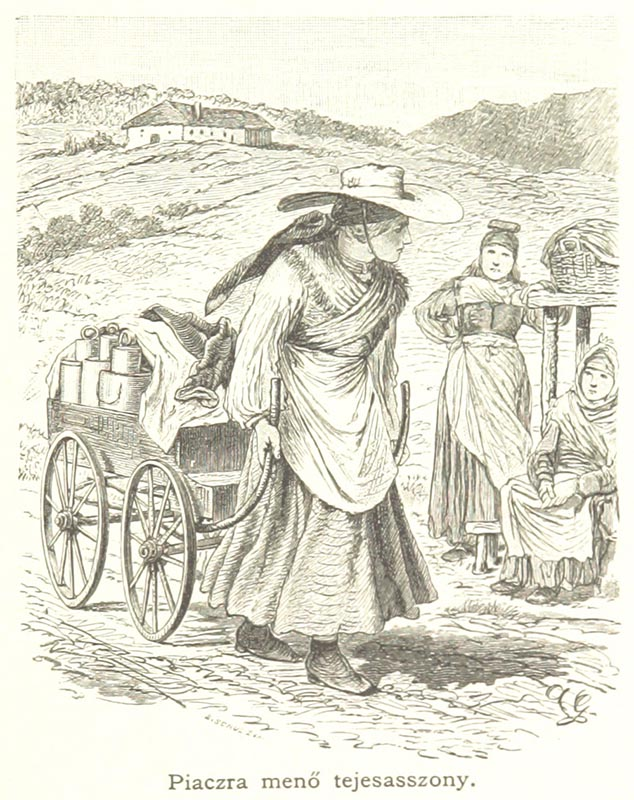 Zeichnung: Milchfrau mit großem Hut zieht Milchkarren hinter sich her