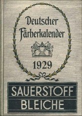 Buchcover: Deutscher Färberkalender von 1929 mit Werbung für Sauerstoffbleiche