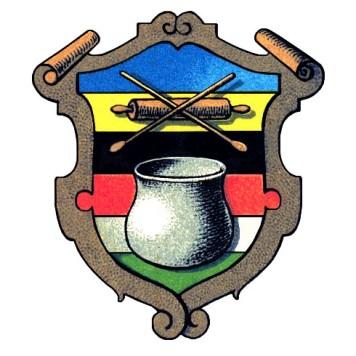 Farblitho: brauner in den Farben grün, weiß, rot, schwarz, gelb, blau; mittig Farbbottich und darüber gekreuzte Holzlöffel über hölzerner Handwalze