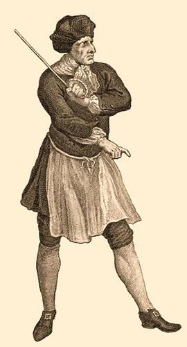 Stich: Gefangenenaufseher mit erhobenem Stock