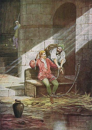 Gemälde: Gruffudd mit einem weiteren Gefangenen angekettet im Kerker, im Hintergrund auf einer Treppe an die Wand gelehnter Wärter