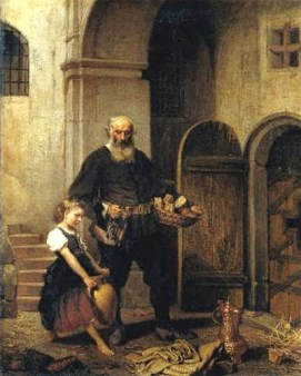 Gemälde: Gefängniswärter mit Brotkorb in der Hand und junges Mädchen mit großem zweihenkligem Wasserkrug vor einer Zellentür