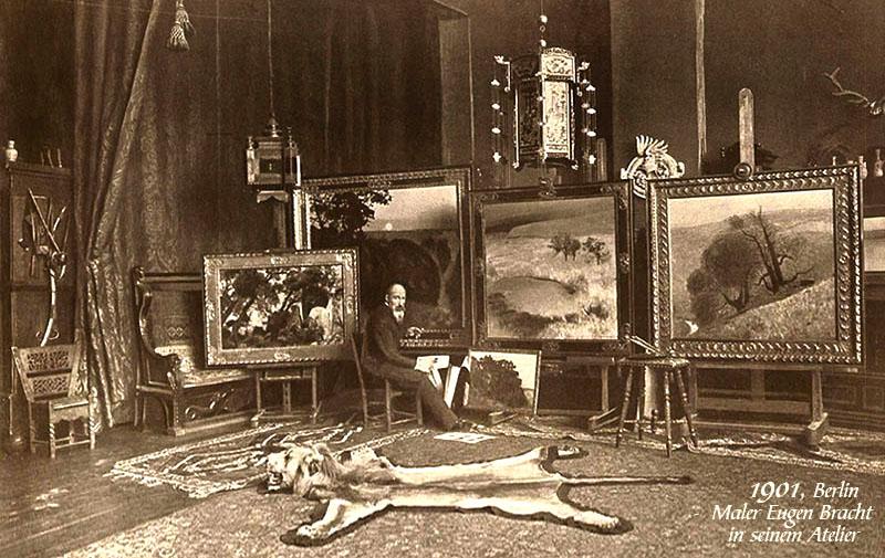 s/w Foto: Maler Eugen Bracht in seinem Atelier in Berlin