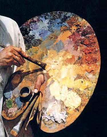 Farbfoto: Maler mit Palette und Pinseln