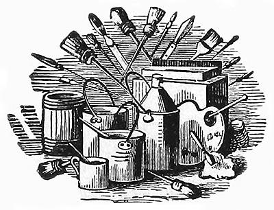 s/w-illu: Malerwerkzeug, z.B. Pinsel und Farbtöpfe