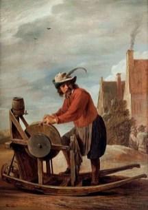 Gemälde: Schleifer mit Federhut am Dorfrand beim Schärfen eines Messers