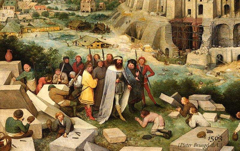 Gemälde 'Turmbau zu Babel': König inspiziert mit Hofstaat Steinmetzen auf der Baustelle