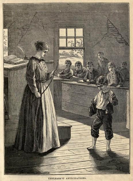 sw-Abbildung: Lehrerin mit Rohrstock in der Hand schaut zu betreten schauenden Schüler vor ihr