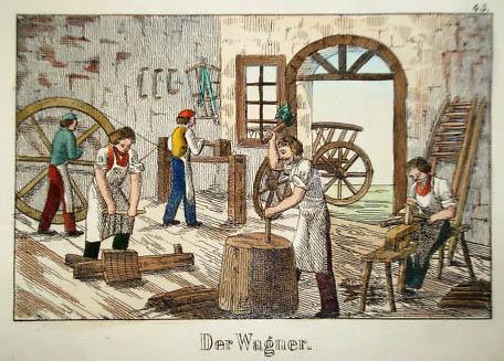 farbige Zeichnung: fünf Wagner bei der Arbeit in der Werkstatt