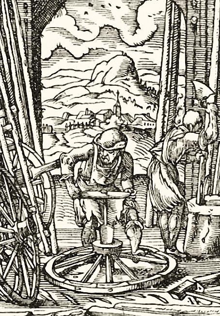 Holzschnitt: zwei Wagner bearbeiten Holzräder