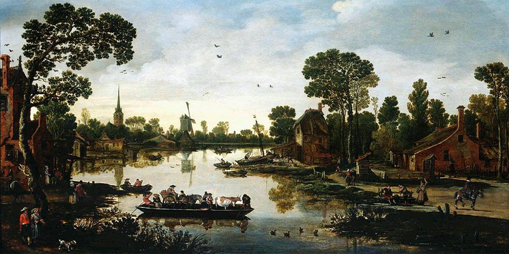 Gemälde: holländische Dorflandschaft am Fluss mit übersetzender Viehfähre