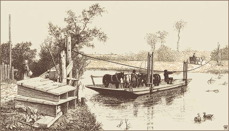 Litho. Seilzugfähre beladen mit Vieh beim Übersetzen