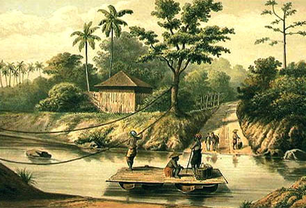 alte Farbillu: Fähre, bestehend aus zwei Booten mit aufliegendem Brett wird an Seilen über den Fluss gezogen