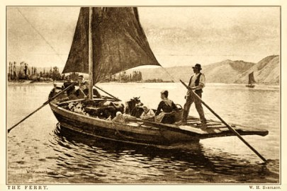 Gemälde: 2 Ruderer und 1 Fährmann am Steuer transportieren Frauen und Kühe in nicht all zu großem Boot über einen See
