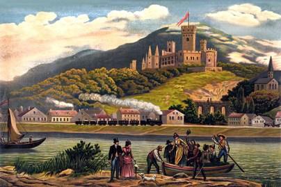 Farblitho: anlegende Fähre und Eisenbahn bei Schloss Stolzenfels
