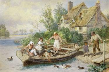Aquarell: Familie mit fünf Kindern steigt am Flussufer in Ruderfähre ein