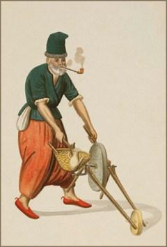 Wasserfarbmalerei: pfeiferauchender, türkischer Messer- und Scherenschleifer mit simpler Schleifsteinkarre