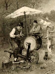 Gemälde: Scherenschleifer arbeitet unter einem Sonnenschirm, vom Nachbargrundstück her schaut ein älterer Mann mit Tabakpfeife über Zaun gelehnt zu