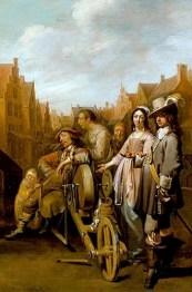 Gemälde: Scherenschleifer nach getaner Arbeit sitzend in ein Menschengruppe. darunter auch ein sehr elegantes Paar
