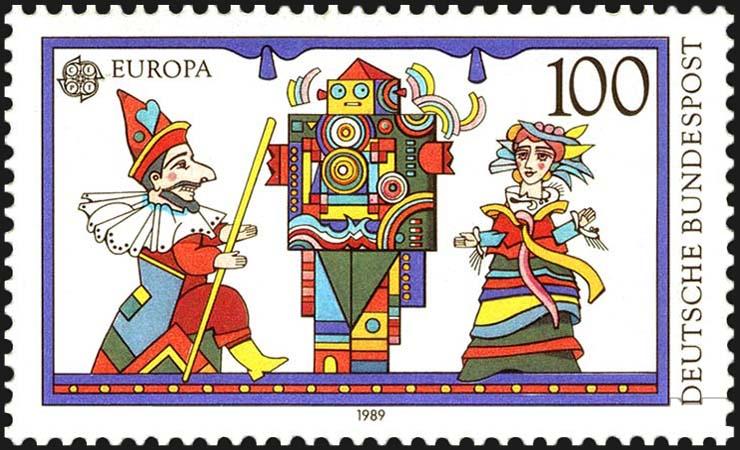 Handpuppen auf Briefmarke
