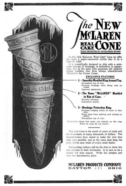 amerikanische Reklame für Eiswaffeln
