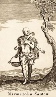 Kupferstich: Ottomanischer Heiliger mit Löwenfell bekleidet
