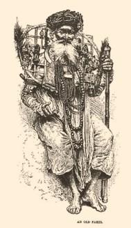 Kupferstich: alter Inder mit Gittergestell und vielen Gebetsketten um den Hals - 1882