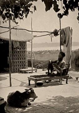 sw Foto: Inder mit Turban sitzt auf Nagelbett