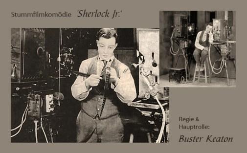 sw Fotos: zwei Filmszenen aus der Stummfilmkomödie Sherlock Jr. - 1924