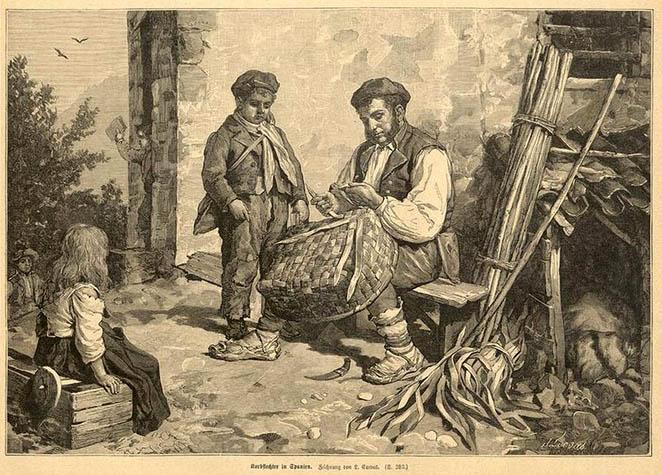 zwei Kinder schauen Mann beim Korbflechten zu