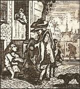 Holzschnitt: vor am Boden sitzendem Lumpenweib steht vornehmer Herr mit alter Kleidung in Händen