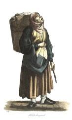 kolorierter Stahlstich: Lumpenfrau mit Rückentragekorb und Stöckchen