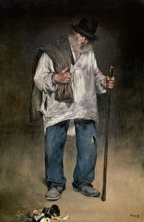 Gemälde: Pariser Lumpenmann mit Rückensack und Stock