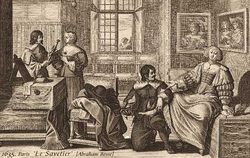 Kupferstich: zwei Flickschuster beim Hausbesuch bei zwei vornehmen Damen