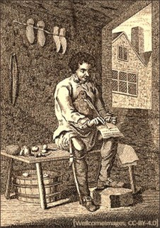Kupfertstich: Schuster schreibt während Arbeitspause Zeilen auf Papier